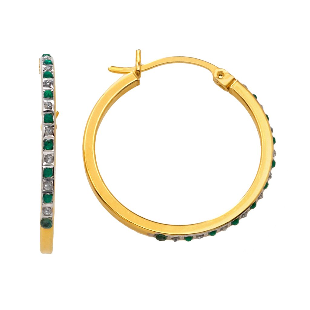 18k Gold-Over-Silver Emerald Hoop Earrings