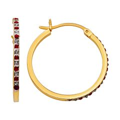18k Gold-Over-Silver Ruby Hoop Earrings