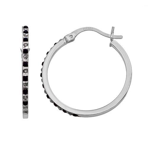 Platinum Over Silver Sapphire Hoop Earrings
