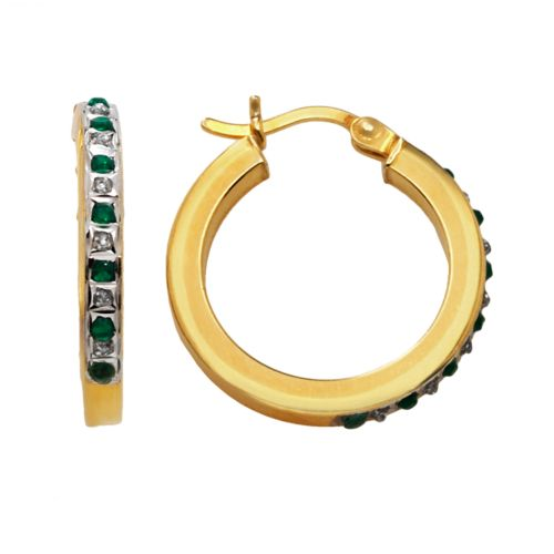 18k Gold-Over-Silver Emerald Hoop Earrings