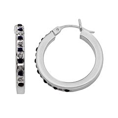 Platinum Over Silver Sapphire Hoop Earrings
