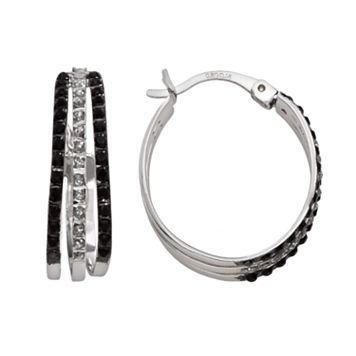Platinum Over Silver Black & White Diamond Accent Hoop Earrings