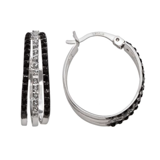 Platinum Over Silver Black and White Diamond Accent Hoop Earrings