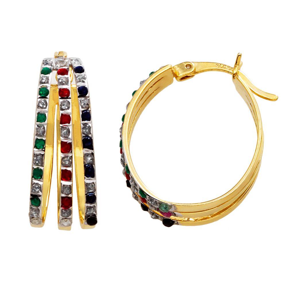 18k Gold-Over-Silver Gemstone Hoop Earrings