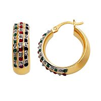 18k Gold-Over-Silver Gemstone Hoop Earrings