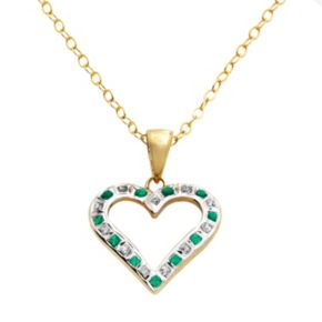18k Gold-Over-Silver Emerald Heart Pendant