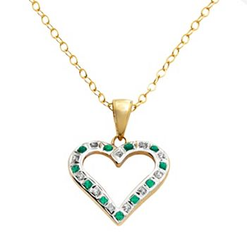18k gold over silver emerald heart pendant aloadofball