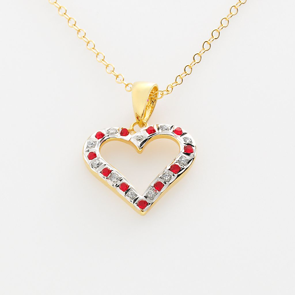 18k Gold-Over-Silver Ruby Heart Pendant
