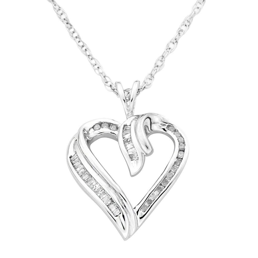 Sterling Silver 1/4-ct. T.W. Diamond Heart Pendant