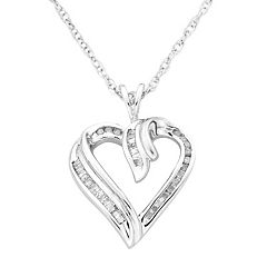 Sterling Silver 1/4-ct. T.W. Diamond Heart Pendant