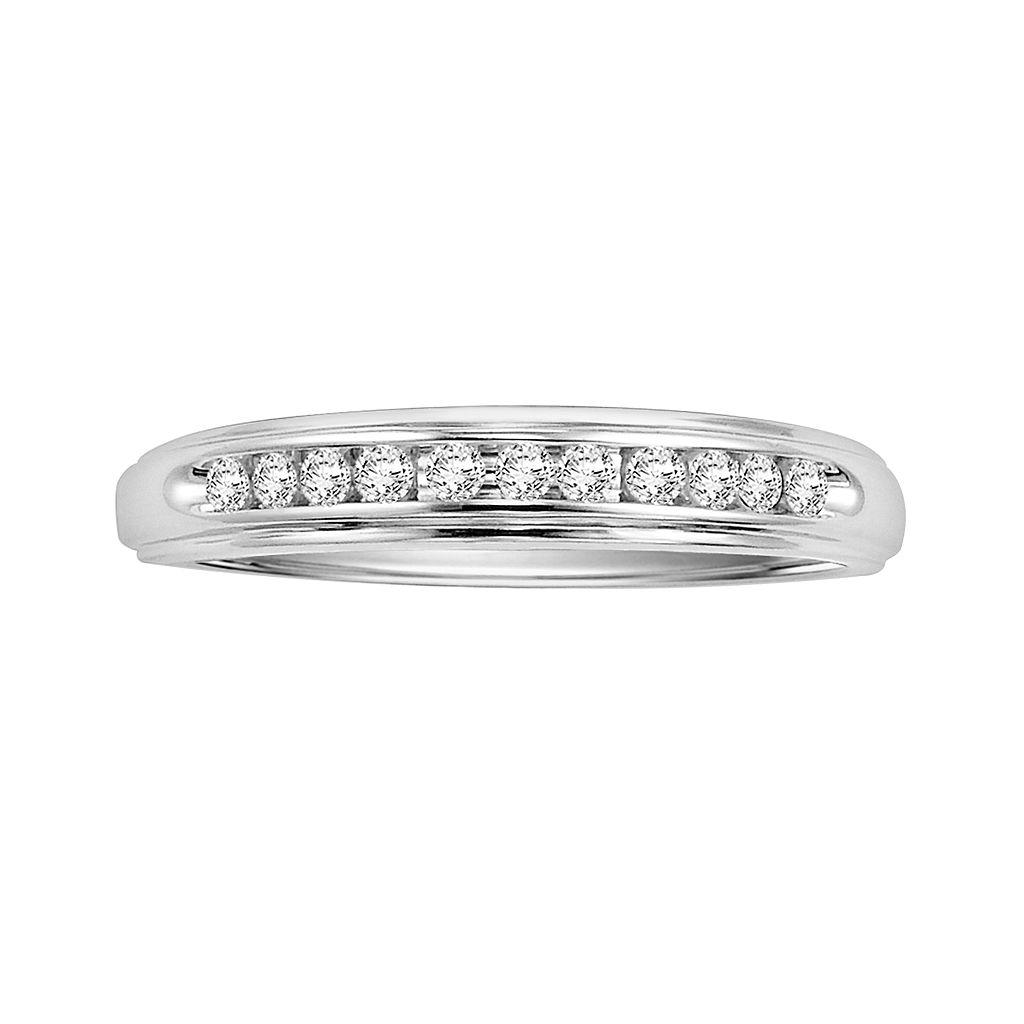 Love Always Sterling Silver 1/8-ct. T.W. Round-Cut Diamond Wedding Ring