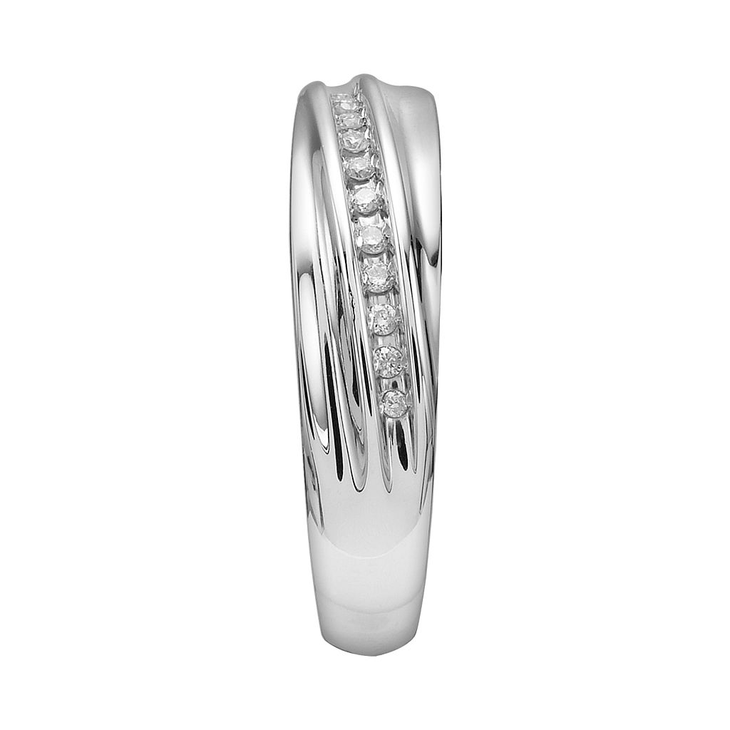 Love Always Sterling Silver 1/10-ct. T.W. Round-Cut Diamond Wedding Band- Men