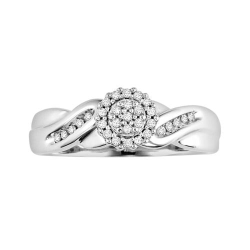 Love Always Round-Cut Diamond Engagement Ring in Sterling Silver (1/6 ct. T.W.)