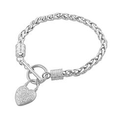 Sterling Silver Diamond Accent Heart Bracelet