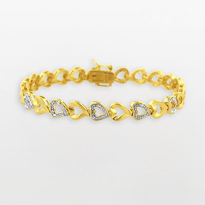 18k Gold-Over-Silver 1/4-ct. T.W. Diamond Heart Bracelet