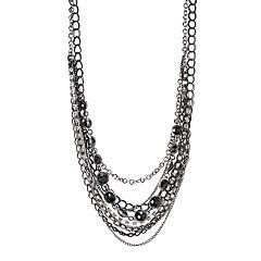 Simply Vera Vera Wang Jet-Tone Multistrand Necklace