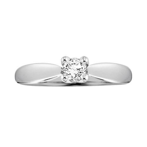 Cherish Always Round-Cut Certified Diamond Engagement Ring in 14k White Gold (1/3-ct. T.W.)