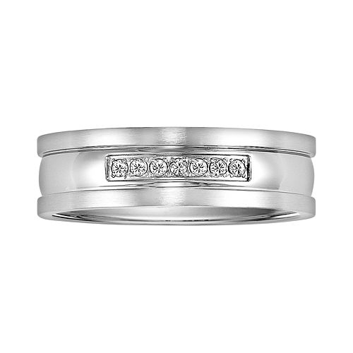 Stainless Steel Diamond Accent Wedding Band - Men