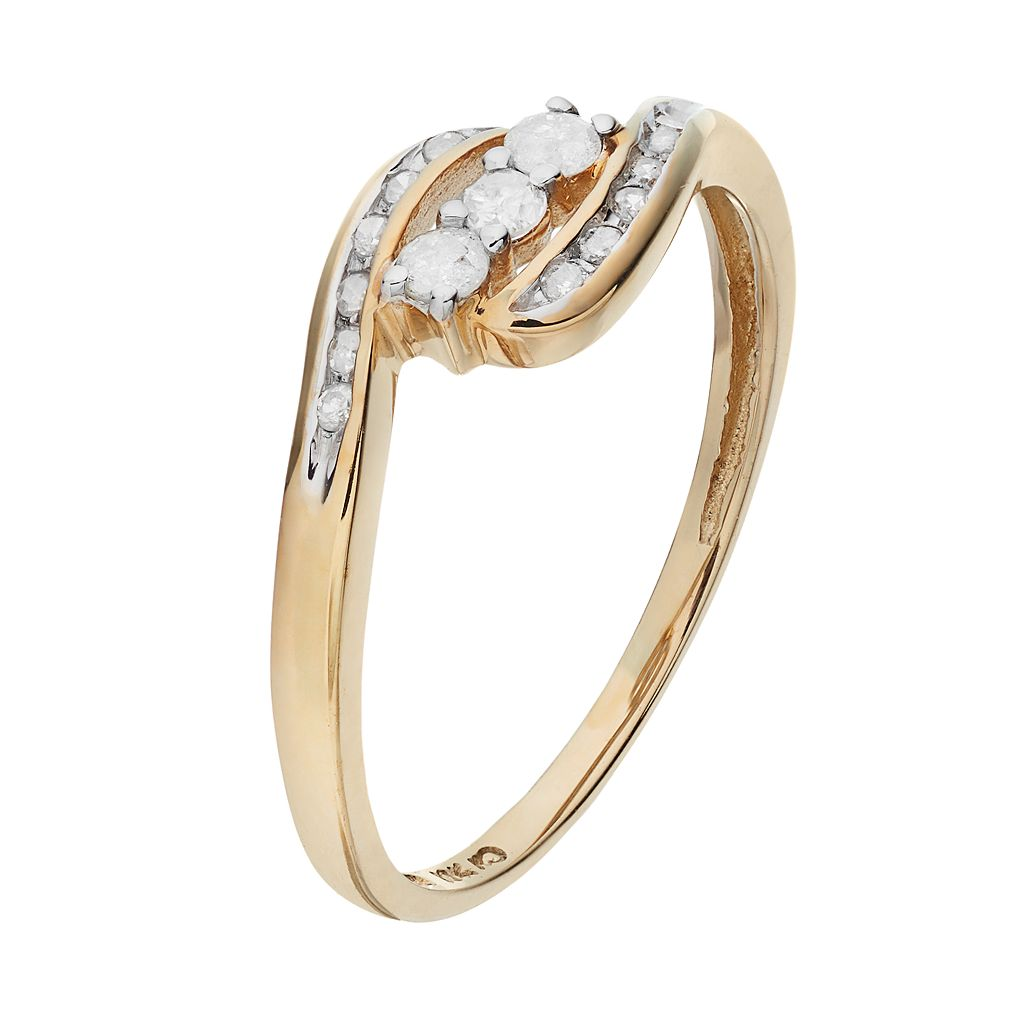 Round-Cut Diamond Swirl Engagement Ring in 10k Gold (1/4 ct. T.W.)
