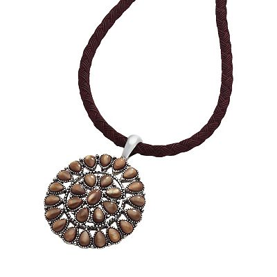 Chaps Silver-Tone Beaded Filigree Pendant