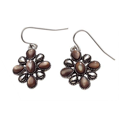 Chaps Silver-Tone Beaded Floral Drop Earrings