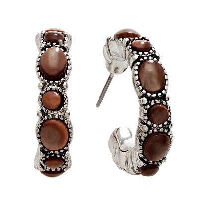 Chaps Silver-Tone Beaded Hoop Earrings