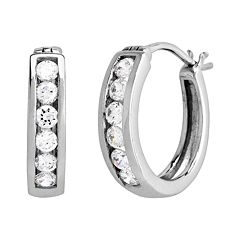 DiamonLuxe Sterling Silver 3/5 ctT.W. Simulated Diamond Hoop Earrings