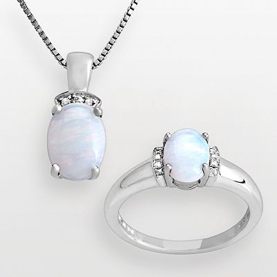 Sterling Silver Lab-Created Opal and Diamond Accent Pendant and Ring Set