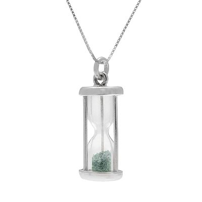 Sterling Silver Gemstone Hourglass Pendant