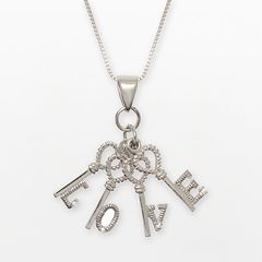Sterling Silver Cubic Zirconia 'Love' Key Charm Necklace