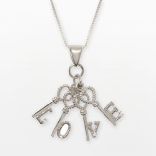 Sterling Silver Cubic Zirconia Love Key Charm Necklace