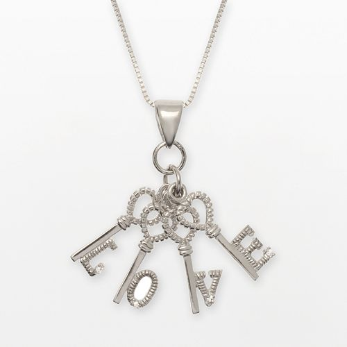 """Sterling Silver Cubic Zirconia """"Love"""" Key Charm Necklace"""