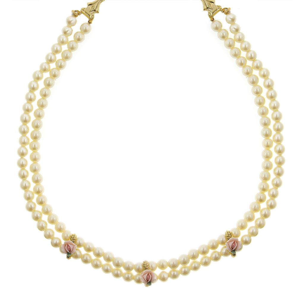 1928® Gold Tone Floral Simulated Pearl Multistrand Necklace