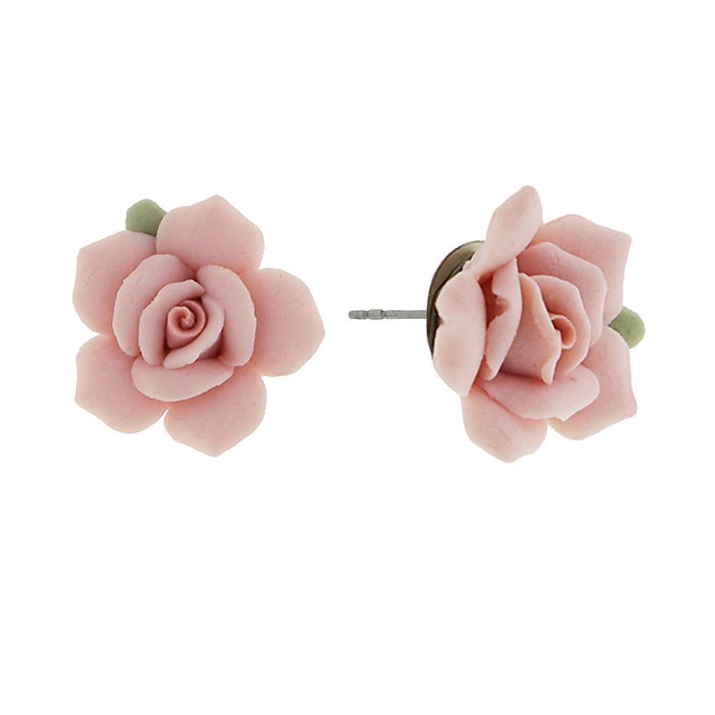 1928 Pink Porcelain Rose Stud Earrings