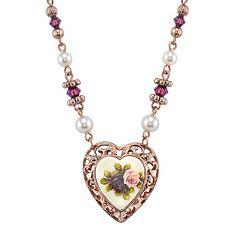 1928 Floral Filigree Heart Necklace