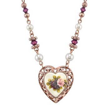1928 Floral Filigree Heart Necklace