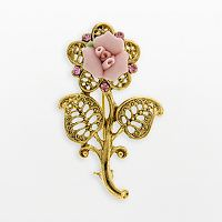 1928® Gold Tone Crystal Floral Brooch