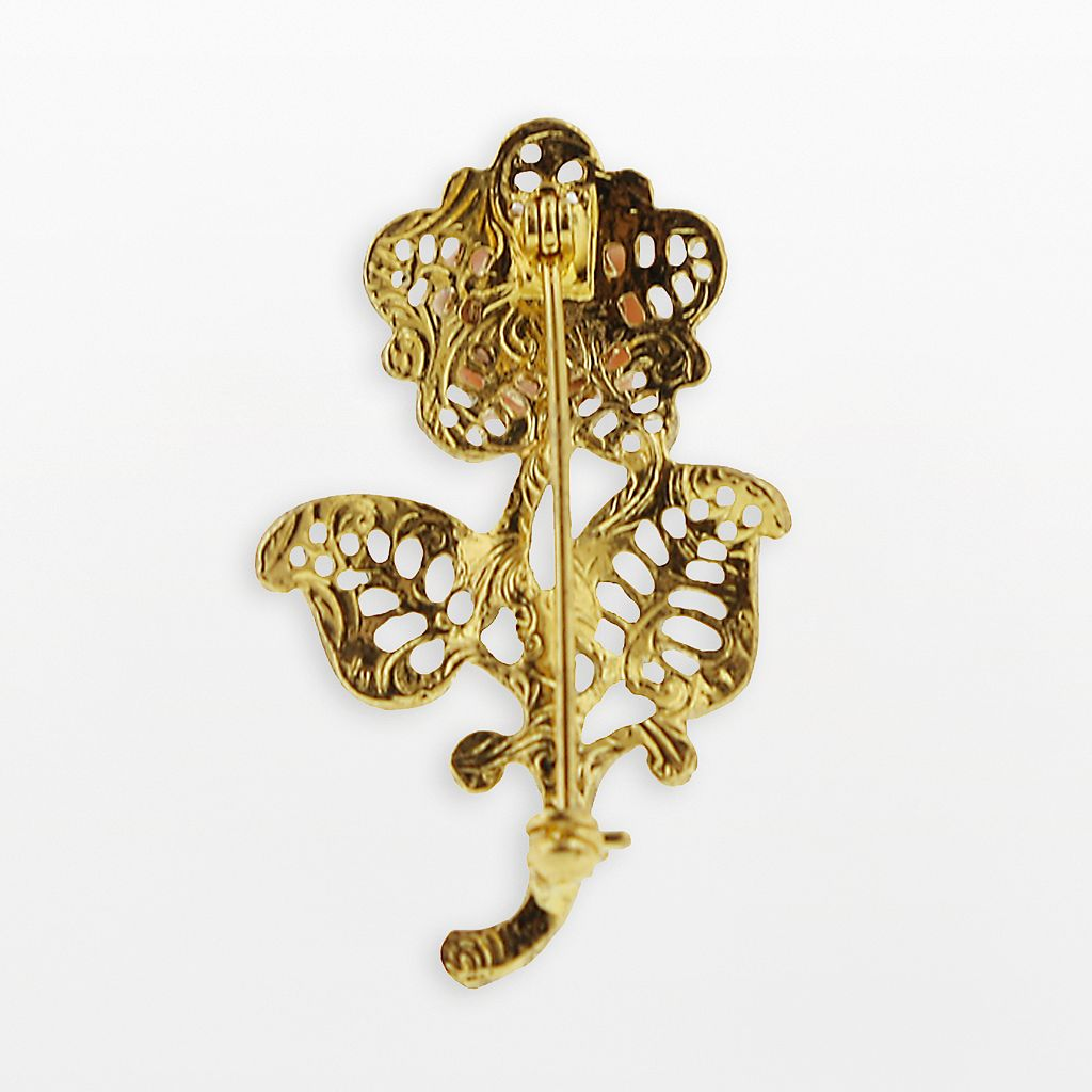 1928 Gold Tone Crystal Floral Brooch