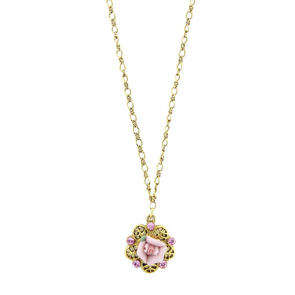 1928 Porcelain Rose Filigree Necklace