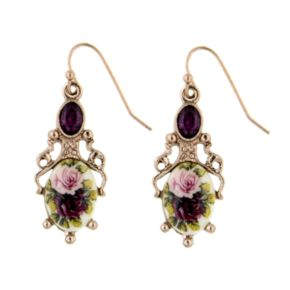 1928 Gold Tone Simulated Crystal Floral Drop Earrings