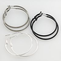 Mudd® Two Tone Hoop Earring Set
