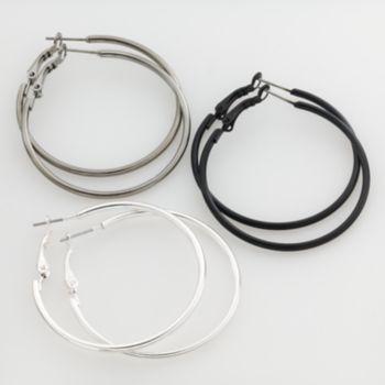 Mudd Two Tone Hoop Earring Set