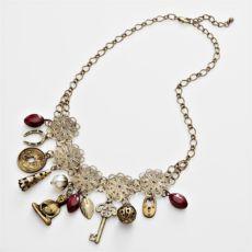 Beaded Charm Bib Necklace