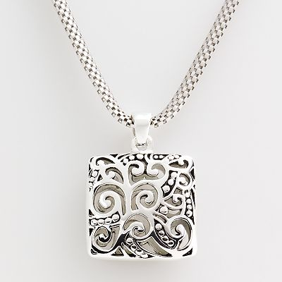 Sterling Silver Filigree Square Pendant