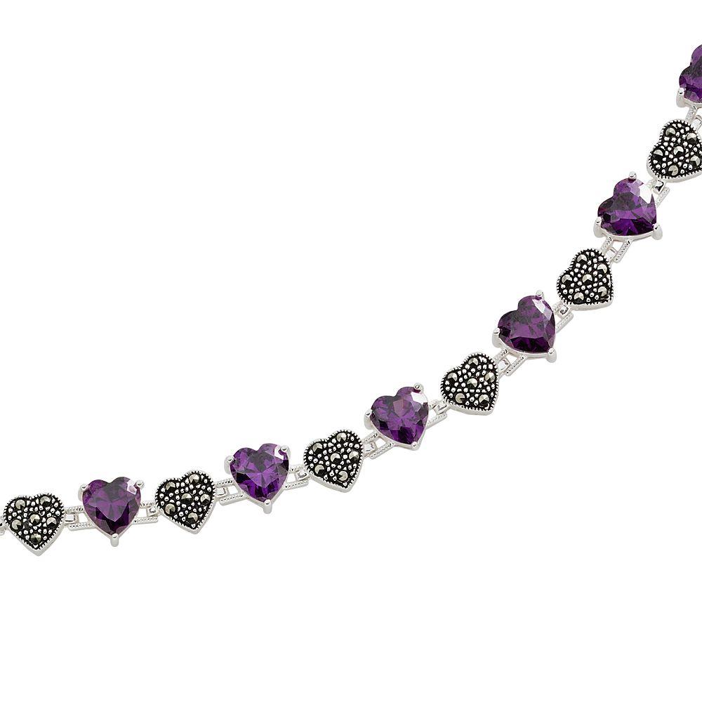 Sterling Silver Amethyst & Marcasite Heart Bracelet