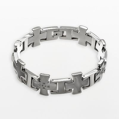 Stainless Steel Cubic Zirconia Cross Bracelet - Men