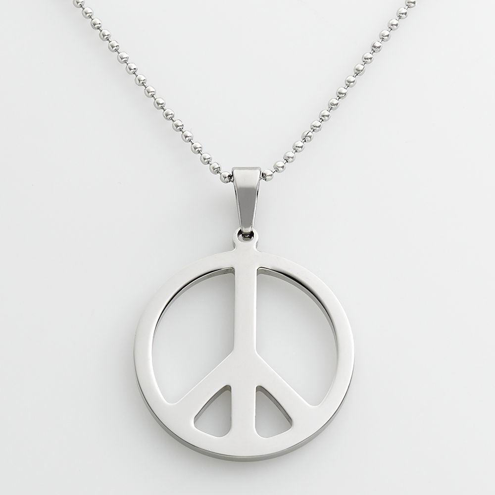 Steel peace sign pendant stainless steel peace sign pendant mozeypictures Choice Image