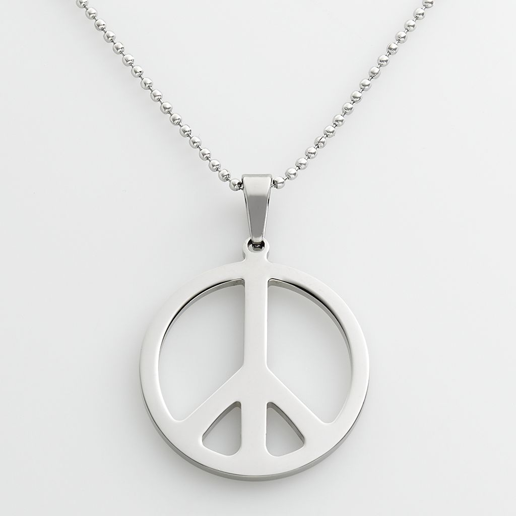Stainless Steel Peace Sign Pendant