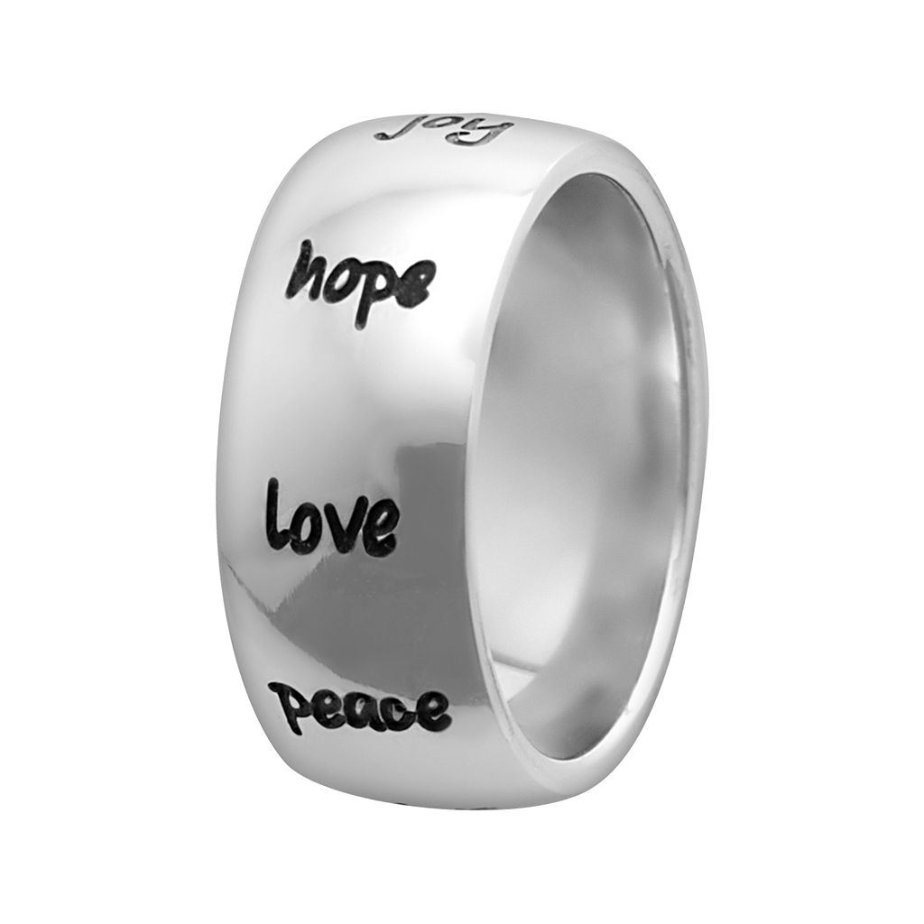 Stainless Steel Live Grow Faith Inspirational Ring