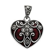 descent Sterling Silver Marcasite Heart Charm